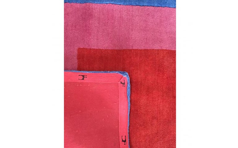 Indian Homage to the Square Rug 'Blue or Pink or Red' by Josef Albers