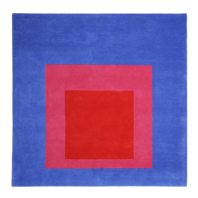 Hand-Knotted Homage to the Square Rug 'Blue or Pink or Red' by Josef Albers