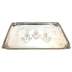 Homan English Victorian Silver Plated Serving Tray with Mascaron Decoration