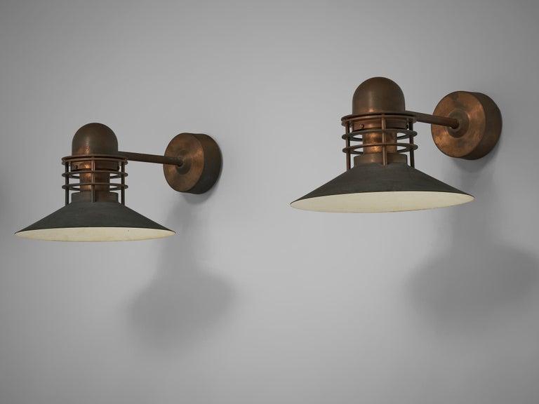 Homann & Kjær for Louis Poulson Wall Lamps 'Nyhavn' in Copper 4