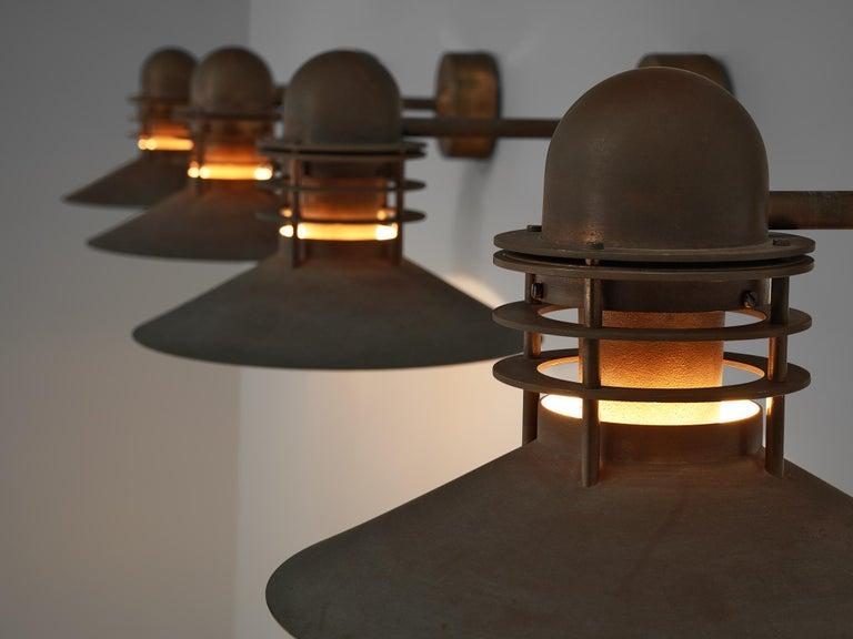 Mid-Century Modern Homann & Kjær for Louis Poulson Wall Lamps 'Nyhavn' in Copper