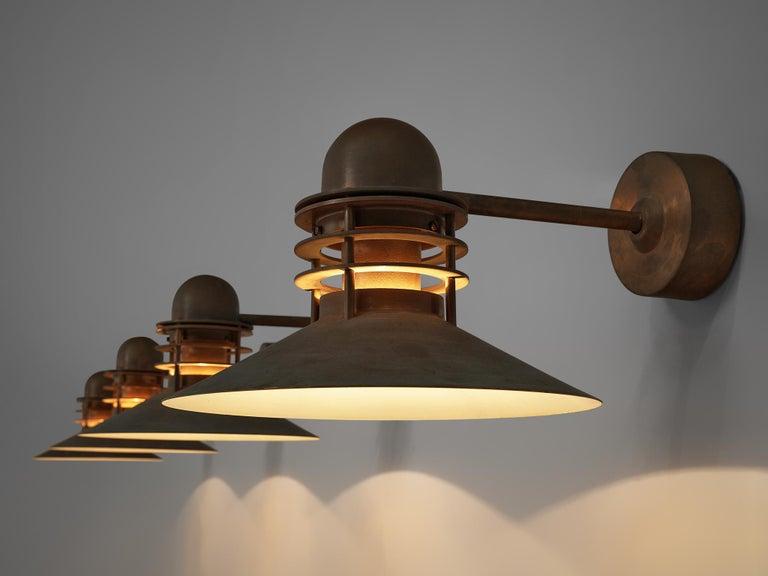 Homann & Kjær for Louis Poulson Wall Lamps 'Nyhavn' in Copper 1