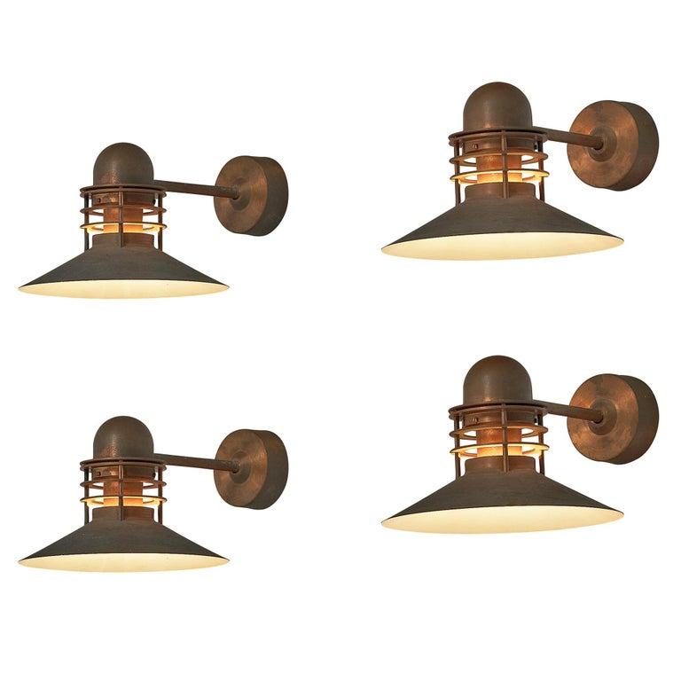 Homann & Kjær for Louis Poulson Wall Lamps 'Nyhavn' in Copper