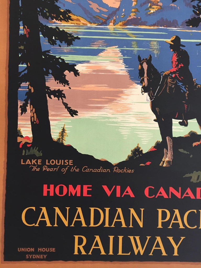 Original vintage poster of Lake Louise by Trompf, 1930s   Artist: Percy Trompf  Rare poster 110 x 75 cm  Percival Albert (Percy) Trompf (1902-1964), was a commercial artist born on 30 May 1902 at Beaufort, Victoria, Australia. His posters for