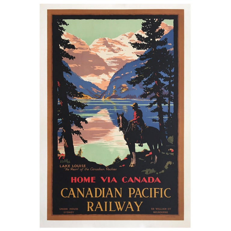 Home Via Canada Canadian Pacific, Original Vintage Poster by Trompf, 1930s