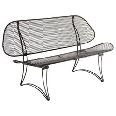 Homecrest Mid-Century Modern Wrought Iron Settee or Bench Refinished in Black