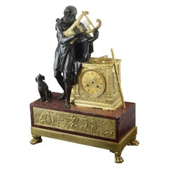 """Homer"", Bronze and Marble Mantel Clock, France, 19th Century"