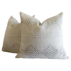 Homespun Linen Pillows in Antique White and Gray