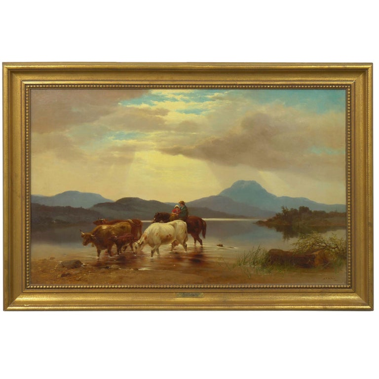 A bucolic scene rich with color, this landscape depicts a farmer with his young daughter crossing the waters behind their cattle. The water is nearly perfectly still and everything about the scene exudes a sense of peacefulness and quiet as the rays
