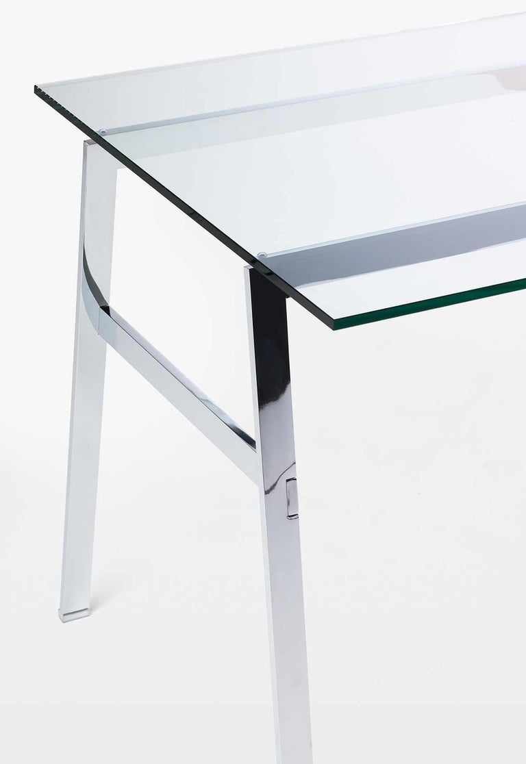Modern Homework Desk Glass Top and Wooden Drawer, by Niels Bendtsen from Bensen For Sale