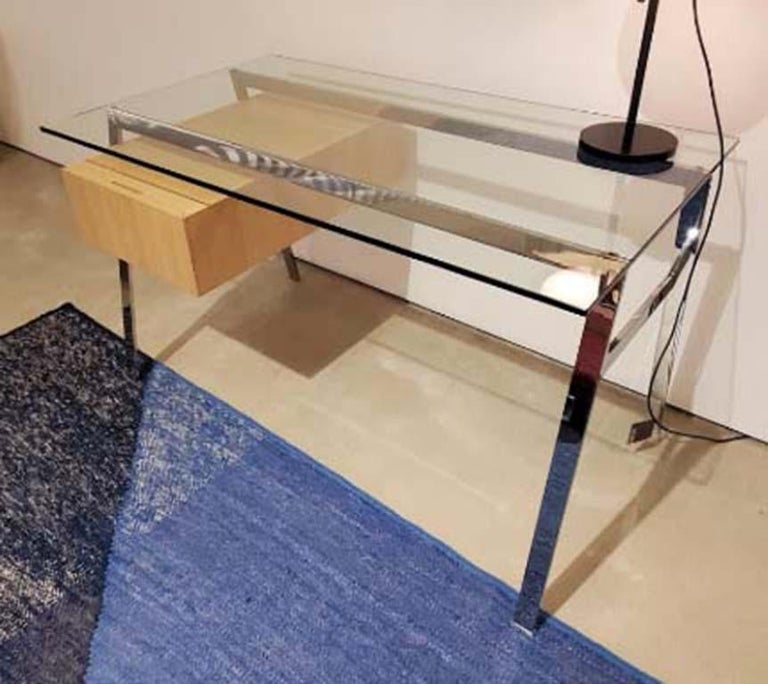 Italian Homework Desk Glass Top and Wooden Drawer, by Niels Bendtsen from Bensen For Sale