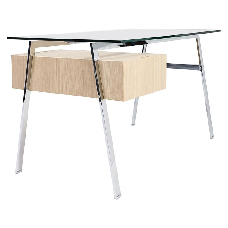 Homework Desk Glass Top and Wooden Drawer, by Niels Bendtsen from Bensen For Sale