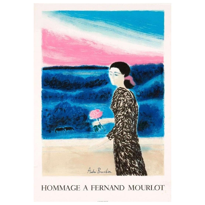 Hommage à Fernand Mourlot André Brazilier 1989 Original Vintage Poster