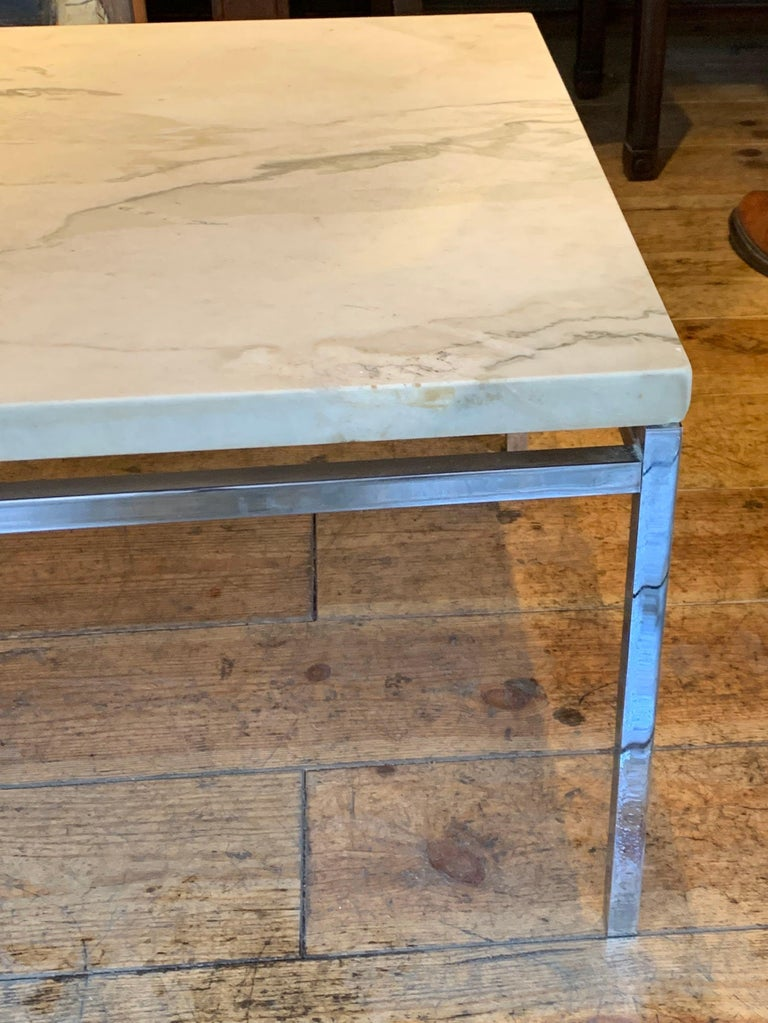 French Honed White Marble-Top, Nickel Base Coffee Table, France, Midcentury For Sale