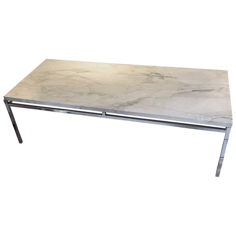 Honed White Marble-Top, Nickel Base Coffee Table, France, Midcentury For Sale
