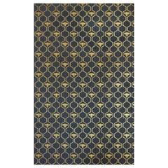 """""""Honig Bienen"""" zeitgenössische, traditionelle Tapete in Gold auf Holzkohle"""