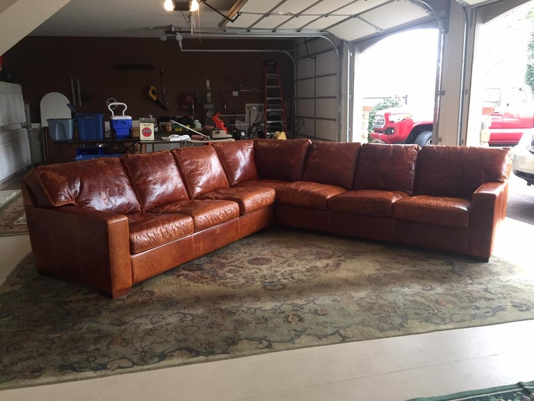 Honey Brown Soft Leather Sectional Three Parts 4