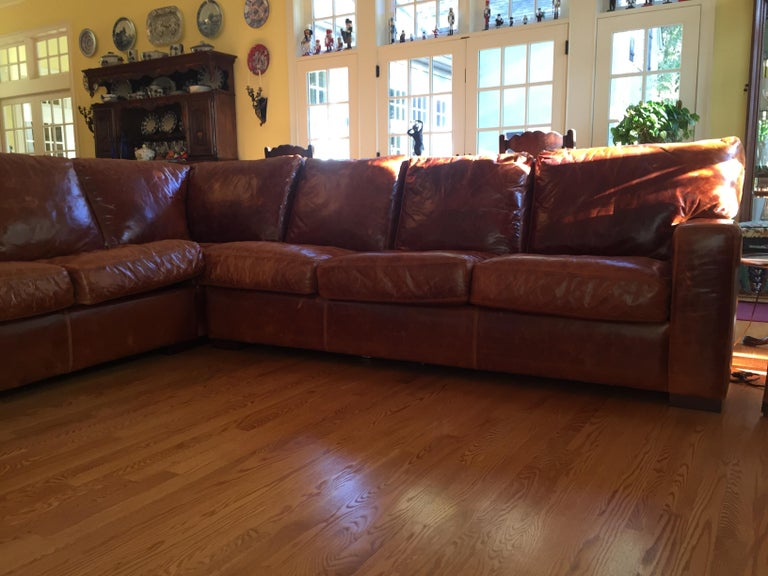 Modern Honey Brown Soft Leather Sectional Three Parts