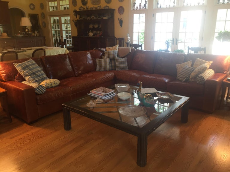 American Honey Brown Soft Leather Sectional Three Parts