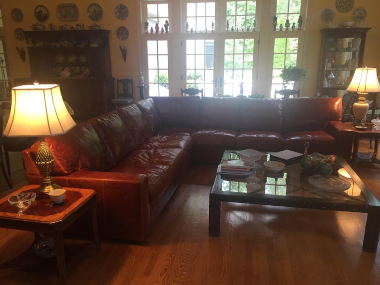 Honey Brown Soft Leather Sectional Three Parts In Excellent Condition In Lambertville, NJ