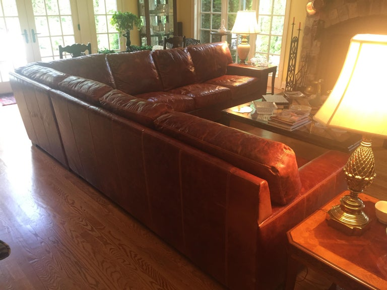 Honey Brown Soft Leather Sectional Three Parts 1