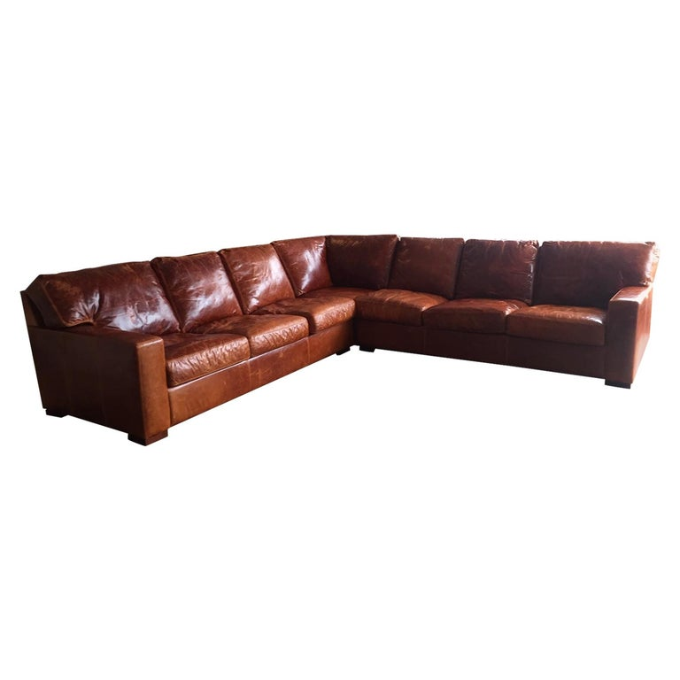 Honey Brown Soft Leather Sectional Three Parts