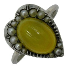 Honey Carnelian Heart Ring Antique Victorian Seed Pearl Sterling Silver