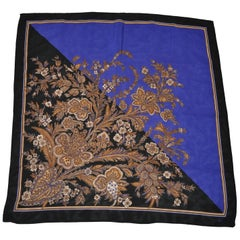 "Honey Majestic Royal Blue & Midnight Black ""Clusters of Florals"" Silk Scarf"