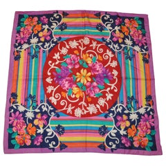 """Honey """"Rainbow Stripes & Whimsical Floral"""" Silk Scarf"""