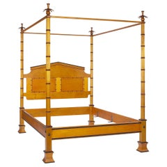 Honey Stained Maple Four Poster Bamboo Style Bed with Palm Frond Finials