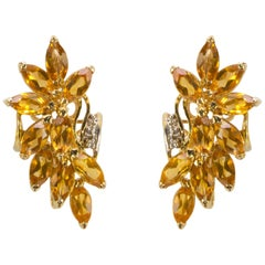 Honey Topaz Spray and Diamond Gold Stud Earrings Estate Fine Jewelry