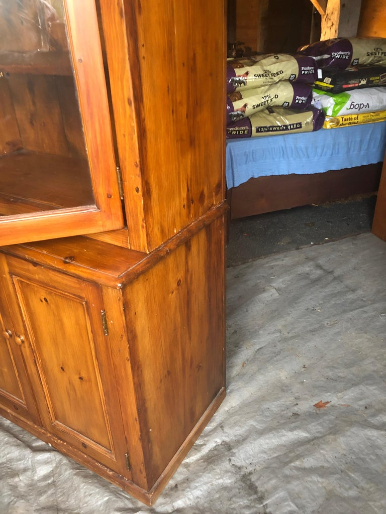 Mid-20th Century Honey Warm Wood Kitchen Cupboard Cabinet with Lots of Storage