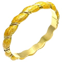 Honey Yellow Guilloche Enamel and 18 Karat Yellow Gold Bangle Bracelet
