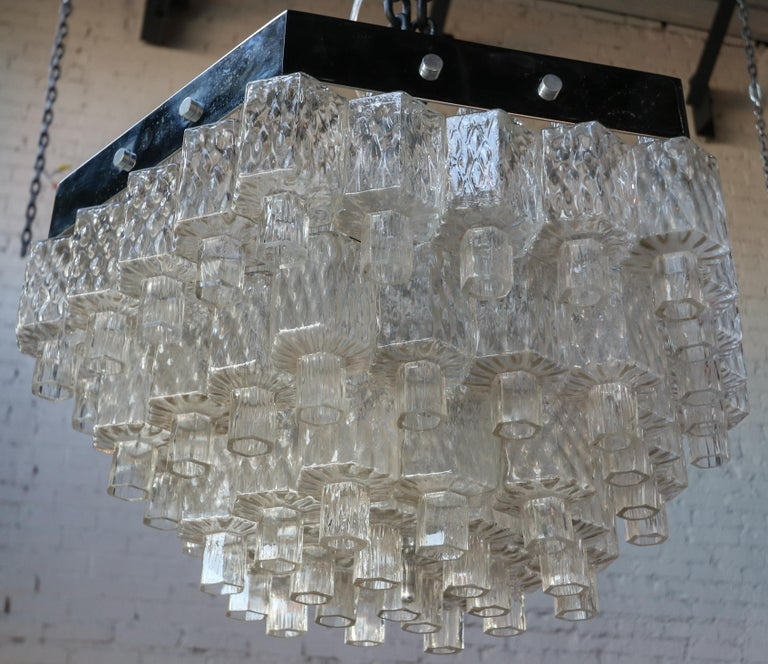 Mid-Century Modern Honeycomb 1960s Italian Chrome and Glass Chandelier For Sale