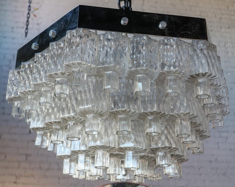 Honeycomb 1960s Italian Chrome and Glass Chandelier In Good Condition For Sale In Los Angeles, CA