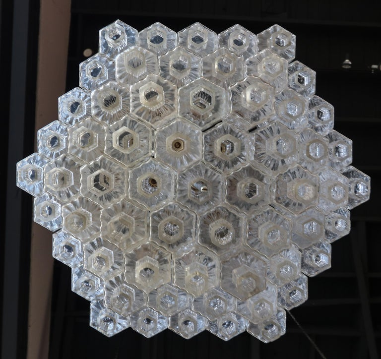 Mid-20th Century Honeycomb 1960s Italian Chrome and Glass Chandelier For Sale