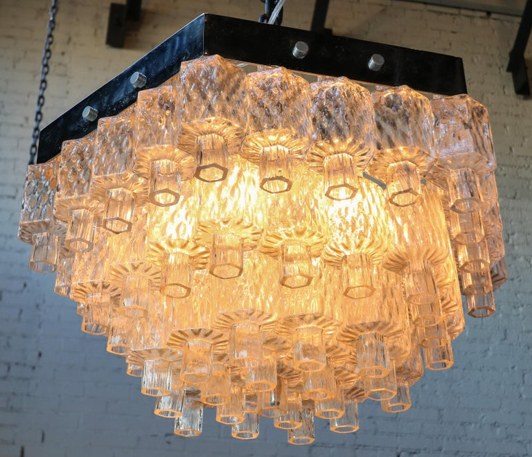 Metal Honeycomb 1960s Italian Chrome and Glass Chandelier For Sale