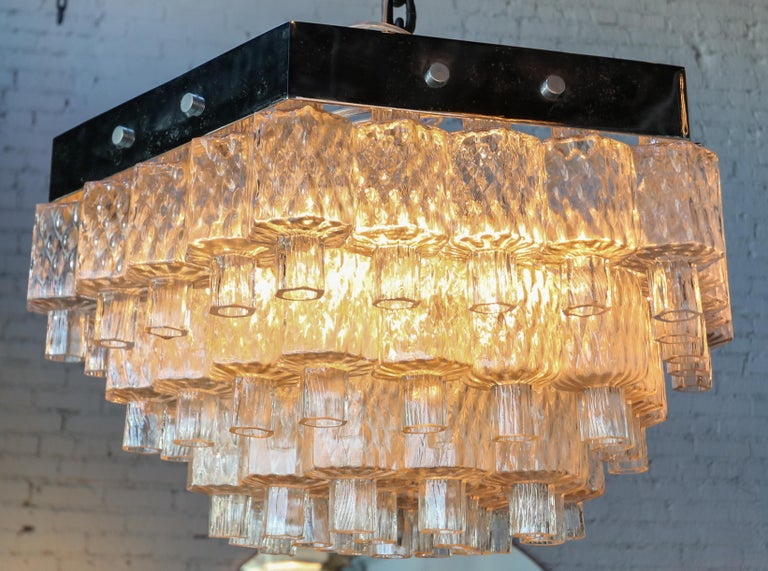 Honeycomb 1960s Italian Chrome and Glass Chandelier For Sale 1