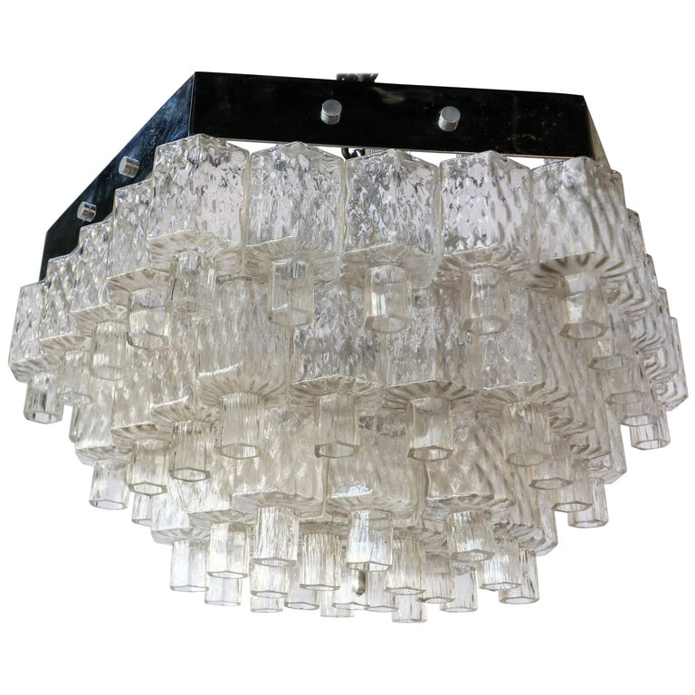 Honeycomb 1960s Italian Chrome and Glass Chandelier For Sale