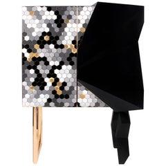 Honeycomb Black and Gold Leaf Cabinet, Royal Stranger