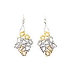 Honeycomb Diamond Dangler Earrings in 18 Karat Yellow Gold