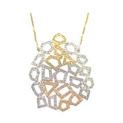 Honeycomb Diamond Necklace in 18 Karat Yellow Gold