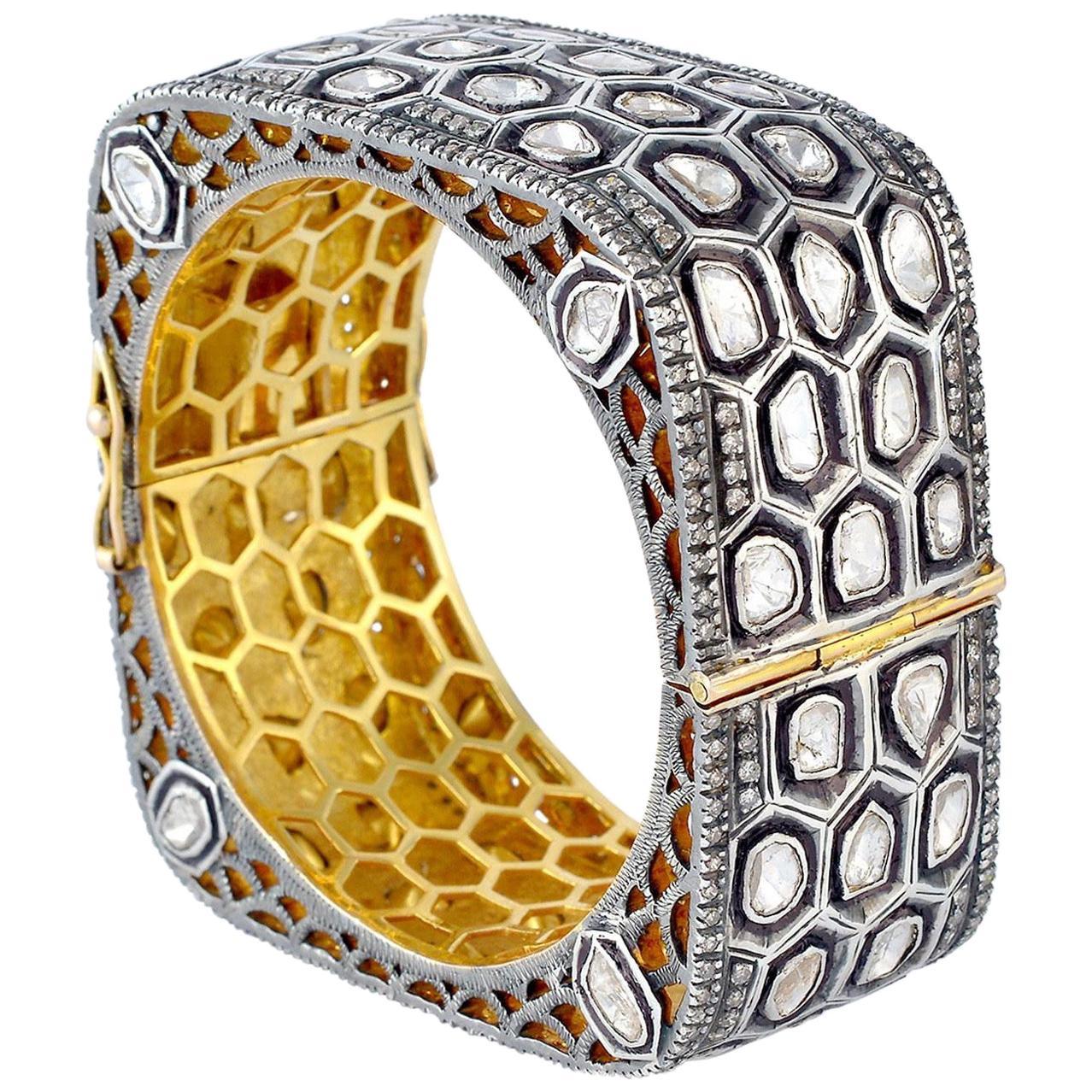 16.04 Carat  Rose Cut Diamond Honeycomb Bracelet Cuff