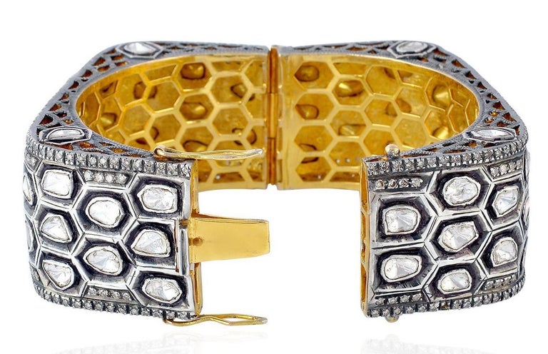 Honeycomb 16.04 Carat Diamond Rose Cut Bracelet Handcrafted  In New Condition For Sale In Hoffman Estate, IL