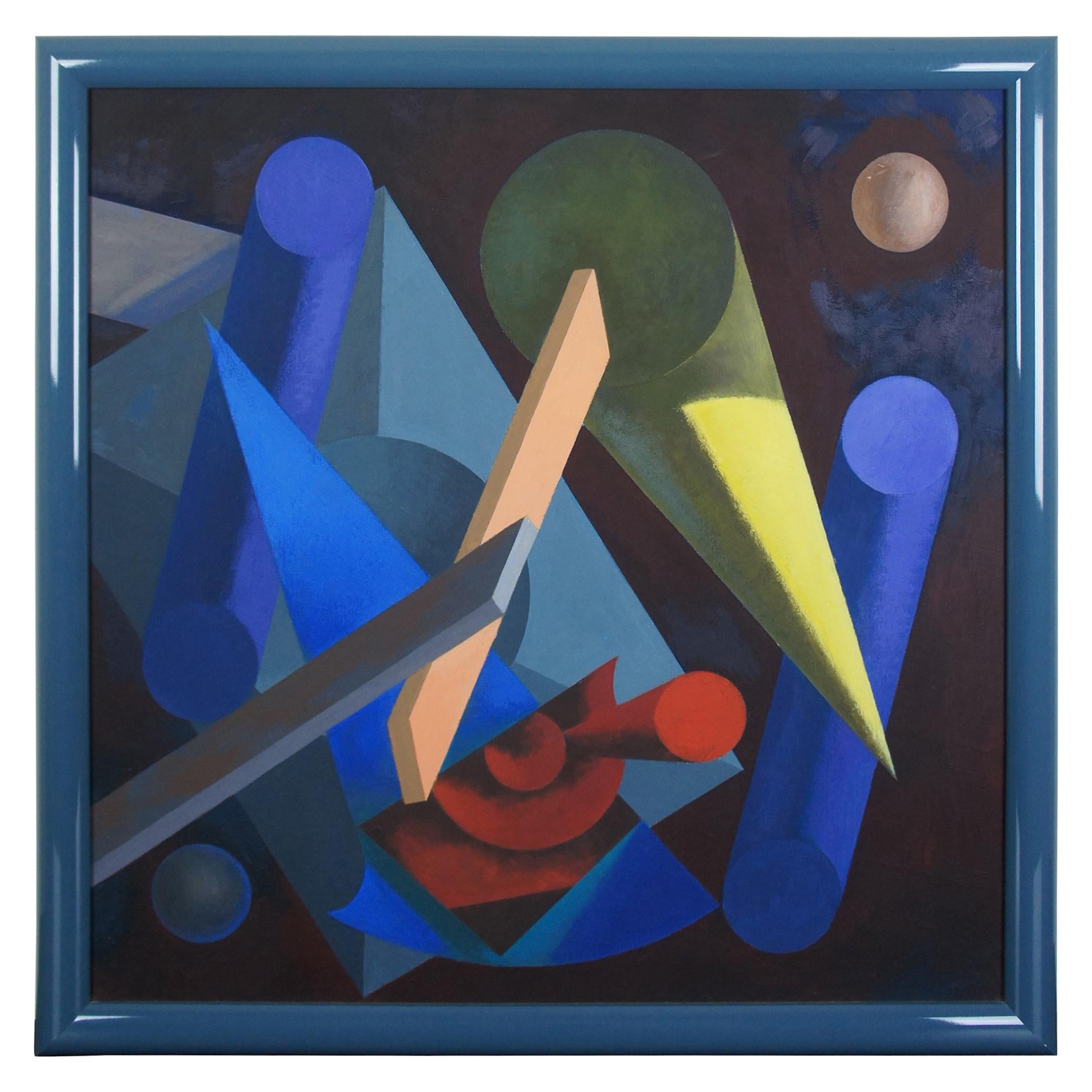 """""""Honeymoon"""" by Frank Struthers 1984 Abstract Modern Shapes Oil Painting"""