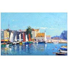 'Honfleur Harbor, Normandy' Original Oil Painting by Niek van der Plas