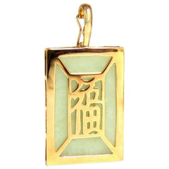 Hong Kong 14 Karat Light Green Jade Pendant