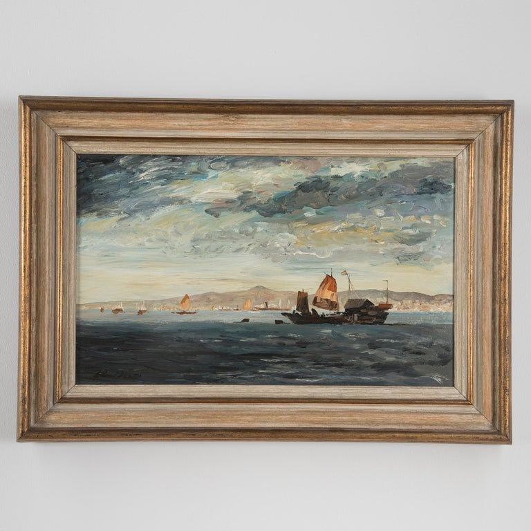 Oil on board of Hong Kong Harbour by Edward Seago, signed bottom left.