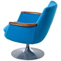 Hong Stole Danish Tulip Base Teak Arm Pod Chair Reupholstered Knoll Wool Fabric
