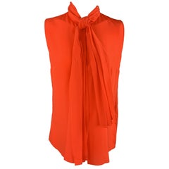 HONOR Size 4 Coral Silk Tied Collar Sleeveless Blouse